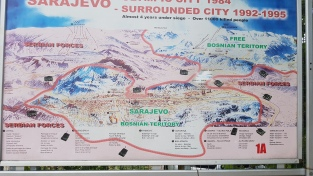 Map showing the siege with Serb positions overlooking the city