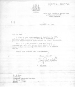 Franklin - letter from Minister Pearsall to Geoff Law - TWS is political organisation not conservation group