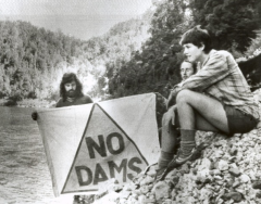 Protesters near the planned damsite
