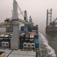 Exiting the inner harbour in Antwerp