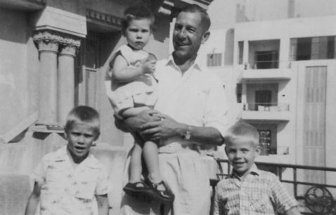 Stratton with John, Michael and Chris Harris Cairo 1961
